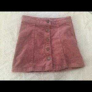 Girls velvet button up skirt (pink)